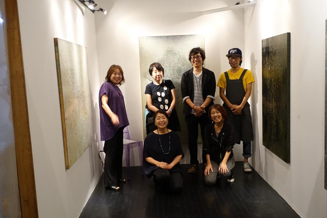 2016.8.28 芦屋画廊 kyoto 訪問。小畑亮平展。 2Fではワインが飲める