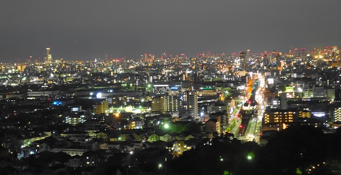 7月24日は生駒山の中腹から、はるか「ハルカス」を望む。