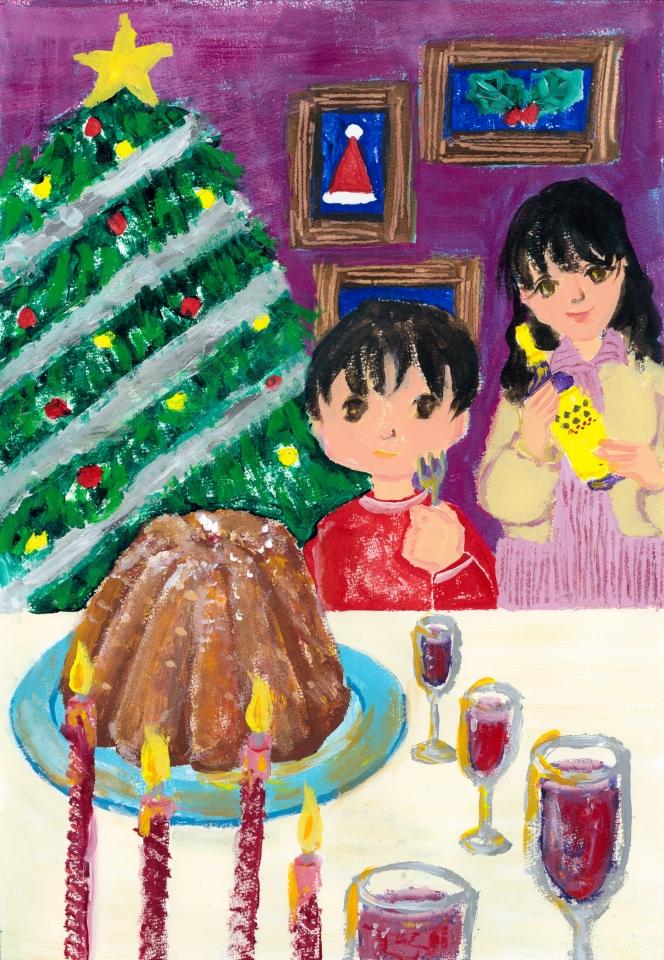 「We Wish You a Merry Christmas」 英語の童謡より連想したイラスト。