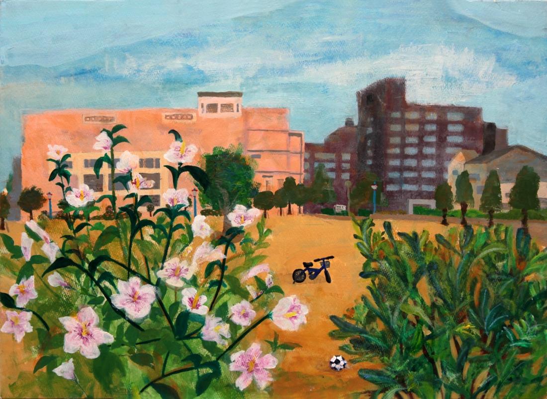「花が揺れる」公園のスケッチです。