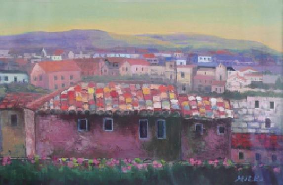 丘の麓の丸瓦の家 アクリル 550×420 (ホルべイン賞、京橋画廊賞)