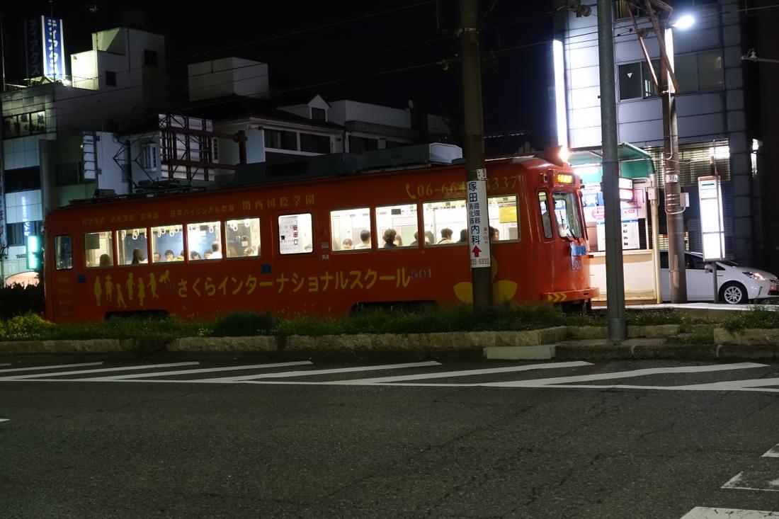ギャラリー近くに浜寺行のちんちん電車。これは大家さんの作品ではありません。