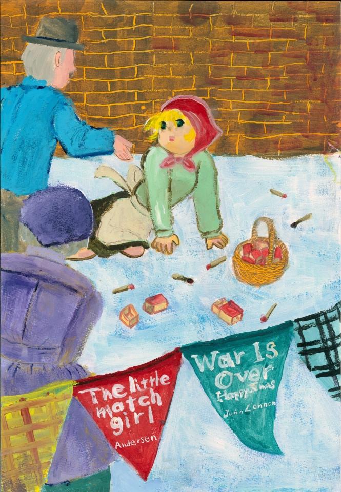 「War Is Over」 ジョンレノンのクリスマスソングより連想したハッピーエンドのマッチ売りの少女のイラスト。