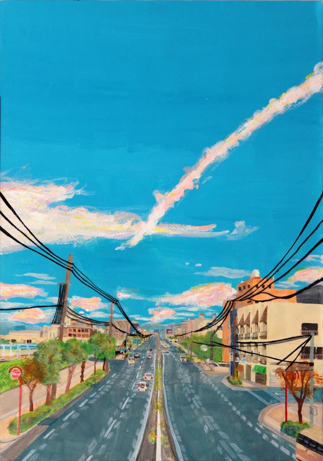 「再度うまれる」大阪市の勝山通りの歩道橋から生駒山方面を。